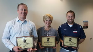Erik Sill, Secondary Teacher of the Year; Lynn O'Driscoll, Presidential Award; Lawton Burgstahler, Emerging Professional